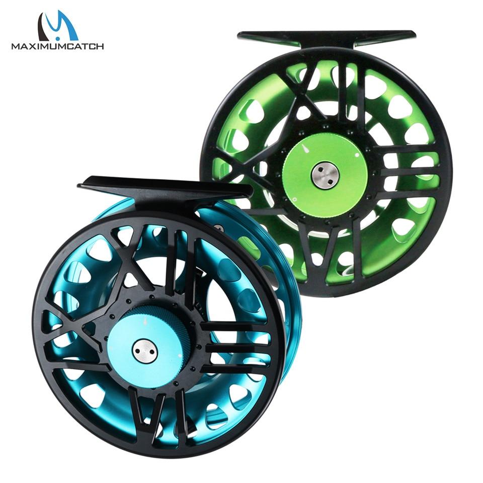 Maximumcatch TimeFly 5/6/7/8wt Fly Reel CNC Machined Cut Aluminum Teflon Disc Drag System Fly Fishing Reel Blue/Green Color<br>