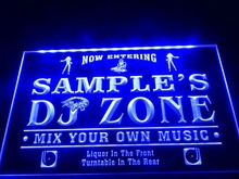 DZ038- Name Personalized Custom DJ Zone Music Turntable Disco Bar Beer  LED Neon Light Sign