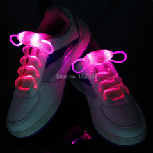 100pairs High quality Fiber Optic 8 color LED Shoe laces shoestring,Blister packing Best Price Disco Flash light up LED Shoelace(China)