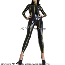 Buy Black Yellow Stripes Around Body Sexy Latex Catsuit Back Crotch Zipper Rubber Body Suit Bodysuit Zentai LTY-0192