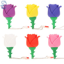 KRY USB3.0 Flash cartoon rose external storage usb2.0 4GB 8GB 16GB 32GB 64GB creative pendriveu disk Valentine gift gift lanyard(China)