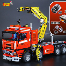 NEW LEPIN 20013 technic series 1877pcs The Electric Crane Truck Model Building blocks Bricks Compatible 8258 Toy Christmas Gift