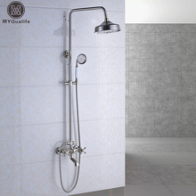 Luxury In-wall Rainfall Shower Faucet Set with Handheld Shower Dual Handle with Tub Spout Bath and Shower Mixer Brushed Nickel(China)