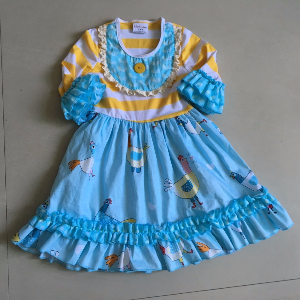 Stripe 3/4 Flare sleeves and animals Ruffle style 100%cotton and with a Bib and present for Baby Girls Dress Apparel Accessory<br>