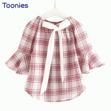 Plaid Chiffon Children's Blouses Trumpet Sleeve Girls Shirts Bow Collar 2017 New Basic All Match Children Tops for Girls Clothes