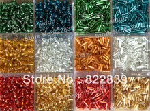 mulit Colors  300g/6color (50g per bag) 2*6MM Silver Core Czech Glass Seed Bugle Beads Loose Jewelry Accessories