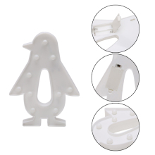 1PC 3D Marquee Lamp With 10 LED Battery Operated Warm White Penguin Night Light(China)