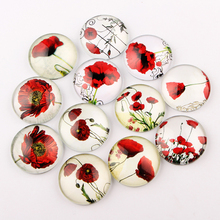 onwear mix handmade poppy flower photo round glass cabochon 30mm 8mm 12mm diy jewelry making findings