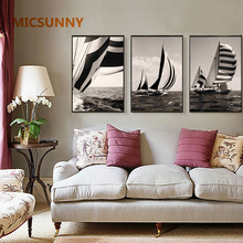 MICSUNNY Minimalist Prints Vintage Stripe Sailboat Hand Painted Decorative Poster Picture Modern Home Decor For Living Room Wall(China)