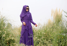 KYLE & JANE evening dresses malaysia Chiffon fabric muslim dress 2 pieces abaya Purple with waistband including hijab 0267