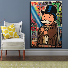 CM134 Fight Alec monopoly Graffiti Banksy art print canvas for wall art decoration oil painting wall painting picture No framed(China)