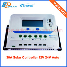 30amp 24v VS3024AU with lcd display and USB terminal output charging electronic device solar system panel regulators
