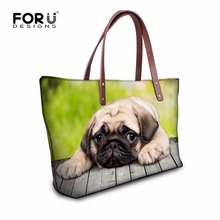 FORUDESIGNS Lovely French Bulldog Women Handbag Casual Shoulder Bags Luxury Designer Lady Top handle Bags Tote Bolsas Travel Bag(China)
