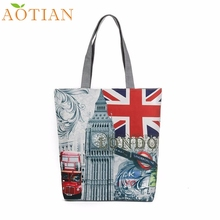 AOTIAN London Big Ben Canvas Tote Casual drop ship beach Bags Women Shopping Bag Handbags Fashion Hot New DropShipping 73-02