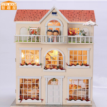 Assemble DIY Doll House Toy Wooden Miniatura Doll Houses Miniature Dollhouse toys With Furniture LED Lights Birthday Gift 3812