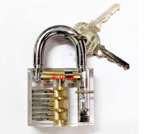 New Transparent Practice Padlocks Cutaway Inside View Locksmith Tools Door Lock Pck Lock Smith Tools Trainer Skill w/ 2 keys(China)