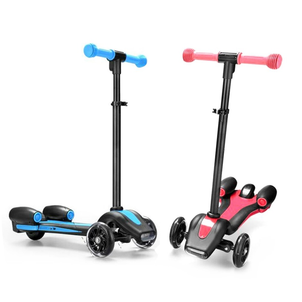 Children's Spray Scooter Foldable Children's Gifts Adjustable Height Photoelectric Spray Anti-Skid PU Wheels New Style