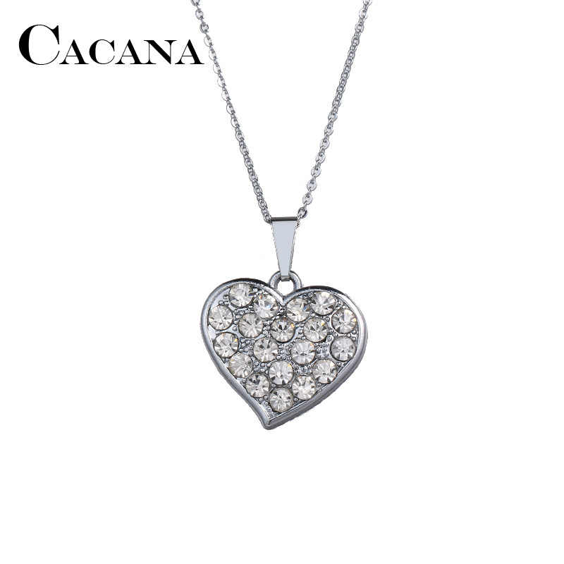 Detail Feedback Questions about CACANA Drill Crystal Heart Pendant Necklaces  Different Rhinestone Show Your Heart Love To The Half Charms Jewelry For  Women ...