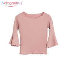 Aelegantmis Spring Autumn Cute 3/4 Flare Sleeve T-Shirt Women Fashion Candy Color Ruffles Tee Shirt Lady O-Neck Short Slim Tops(China)