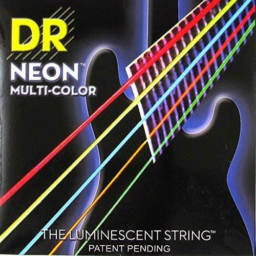 DR K3 Hi-def Neon Multicolor Luminescent Bass Guitar Strings, Light 40-100 or Medium 45-105 or 5-strings 45-125<br>