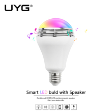 UYG E27 Wireless bluetooth smart LED bulb lamp light speaker mp3 player Speakers Audio 110V 220V 240V Colorful Lighting(China)