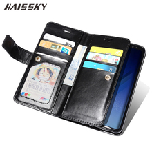 HAISSKY Leather Case For Samsung Galaxy S8 Plus S7 Edge S7 Note 8 Wallet Case Zipper Card Holder Luxury Flip Covers Book Pouch(China)