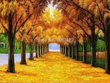 Yellow leaves Montreal forest trails trees 2015 hot sale 5d diy beadwork diamond pattern cross stitch home decor needlework
