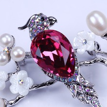 real pearl&red crystal brooch pin rhinestone brooch jewelry in cute birds shape for woman