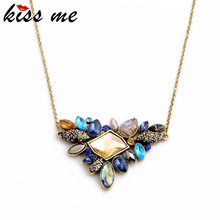 KISS ME Exquisite Rhinestone Pendant Necklace 2016 Wholesale Newest Fashion Thin Chain Collar Necklace Jewelry(China)
