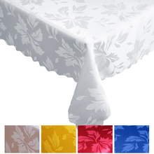 Printing Leaves Pattern Jacquard Table cloth Ivory Tableclothes Rectangular Round Wedding Banquet Party Hotel Decoration(China)