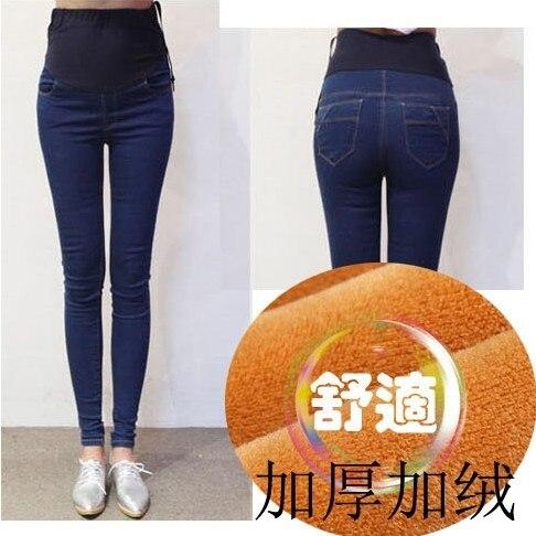 Winter Elastic Waist Warm Pencil Pants Pregnancy Skinny Jeans Pregnant Women Clothes Maternity Pregnancy Jeans Retro High Waist<br>