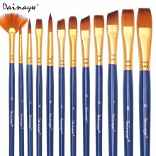 Dainayw 12pcs/set Different Shape Nylon Hair Paint Brushes Artist Oil Watercolor Painting Brush For Professional Art Supplies