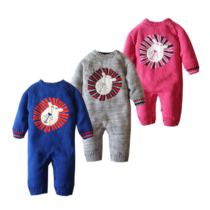 Baby Knitted Sweater Romper 0-18 Months Lion Thick Cotton Long Sleeve Autumn Winter Infant Boy Girl Baby Clothing<br><br>Aliexpress