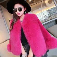 2017 Fur Faux Fur Coat Mink Hair Rex Rabbit Hair Cape Jacket Black White Fur Overcoat Imitation Rabbit Fur Faux Fox Collar
