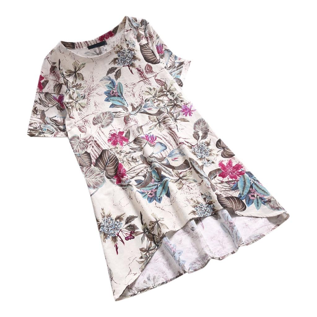 CHAMSGEND Dress Women Short Sleeve Loose Linen Dresses Casual Floral  Printed O Neck Short Vestido Irregularity Plus Size 14DEC30 Black Women  Clothes ... 1f9916d99d38