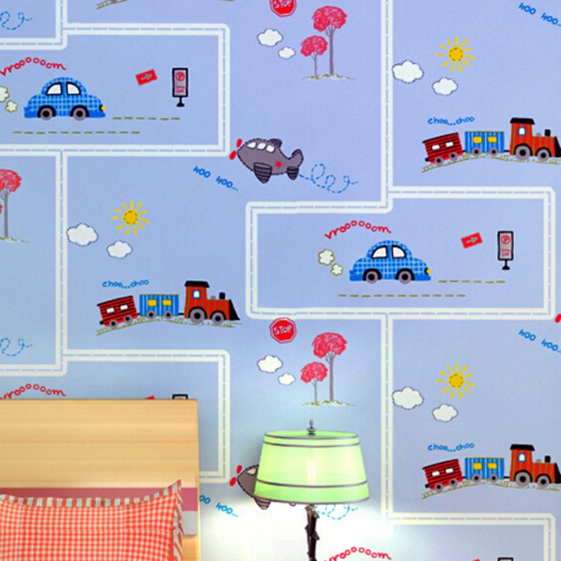 Beibehang Cartoon fashion to hd children room wallpaper children bedroom blue green car plane 3D wallpaper papel de parede<br>