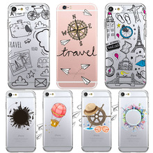 Newest Transparent Dream Travel Styles Compass Pattern Phone Case For iphone 5 5s /6 6s plus Soft Clear Skin Back Cover Capa(China)