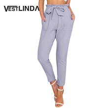 VESTLINDA Women Pants Trousers Winter High Waisted Outer Wear Women Female Bowtie Design Slim Pure Color Harem Pants with Belt