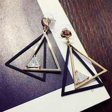 2016 Modern Fashion Geometric Triangle Stud Earrings for Women Crystal Hollow out Ear Studs Brincos E0379(China)