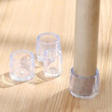 8Pcs Furniture Legs Protective Covers Table Chair Leg Covering Caps Floor Feet Cap Cover Protector Transparent Protective Case(China)