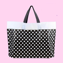 White Dot Pattern Plastic Clothes Garment Bags For Packaging 50pcs/lot Black Party Gift Plastic Bags Wedding Favors(China)