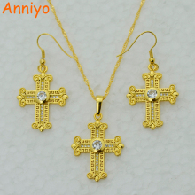 Anniyo Zirconia Cross set Jewelry Pendant Necklace Crucifix Gold Color Women Jewellry Eritrea Ethiopian Christian/Catholicism
