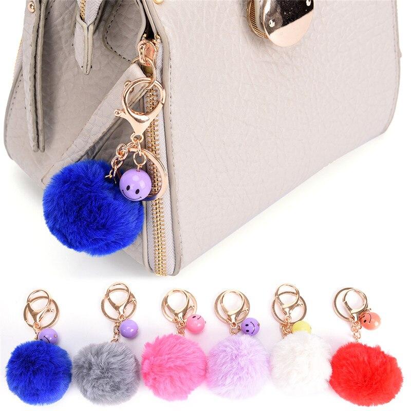 Women Faux Rabbit Fur Ball Keychain Plush Car Key chain Handbag Key Ring Delicate Pendant Bag Accessories 6 Colors