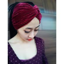 Hand Made Woman Fashion High Quality Velvet Headbands Female Travel Street Take Photo Headscarf  Turbans Muslim Hairbands