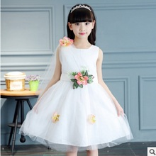 Children's Princess Dress New 2017 Summer Girls O-neck Dress Size6-14 Fashion Personality Princess Dress 2 Solid Colors ly335(China)
