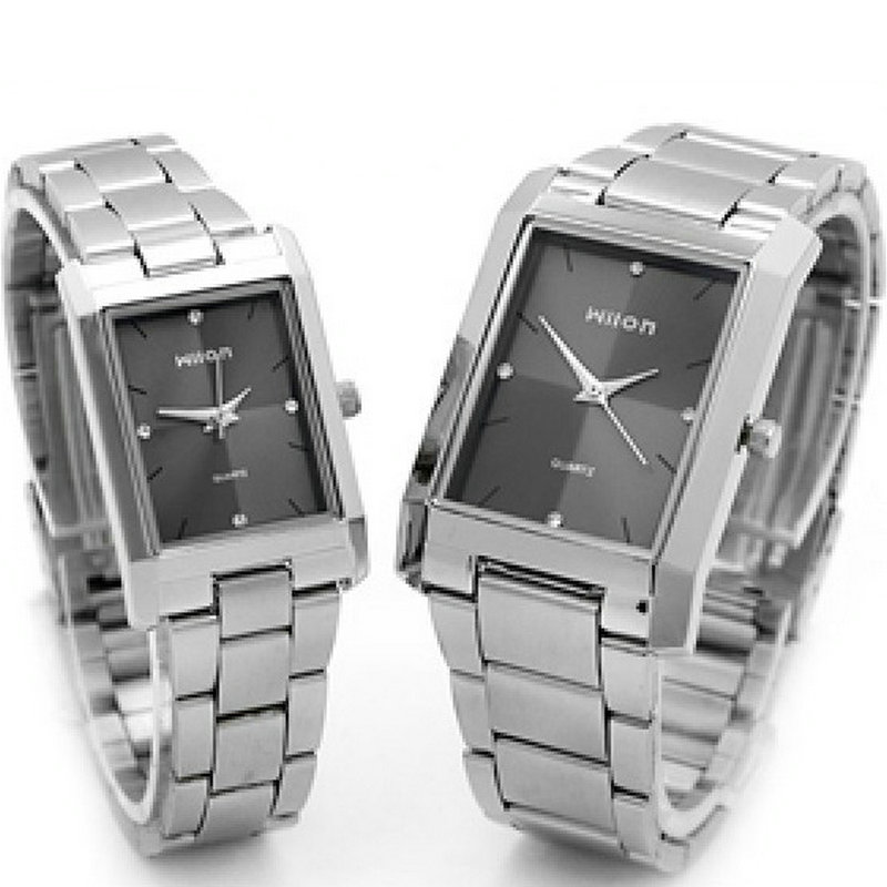 Veyron square steel band set auger fashion watches Ms grace male couples watch<br><br>Aliexpress