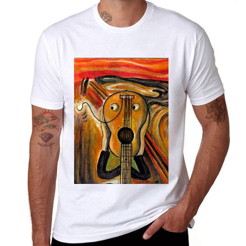 The Scream Funny Printed Tee White Cotton Men T-shirt Short Sleeve Casual Shirt