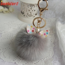 1 PCS Cute Faux Rabbit Fur Ball Keychain Women Girl Bag Plush Car Key Ring Pendant Delicate