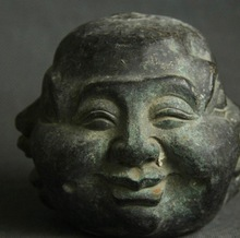"4"" Old China Bronze Four Face Moods Happy Laugh Maitreya Buddha Head Bust Statue"