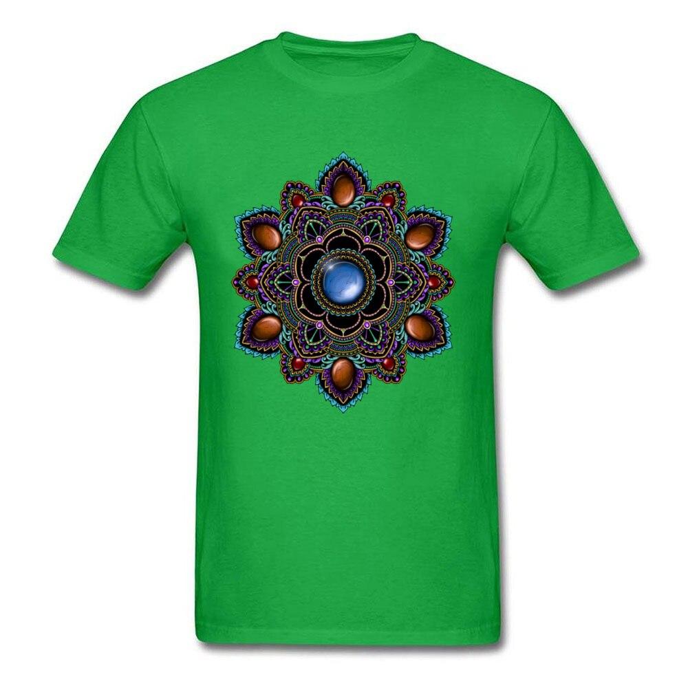 Printed On Tops Tees Cheap O-Neck Comics Short Sleeve Cotton Man T Shirts Customized T Shirt Drop Shipping Purple and Teal Mandala with Gemstones 15622 green